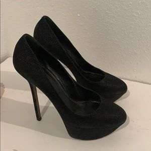 Auth Sergio Rossi black leather pumps heels Sz 7.5